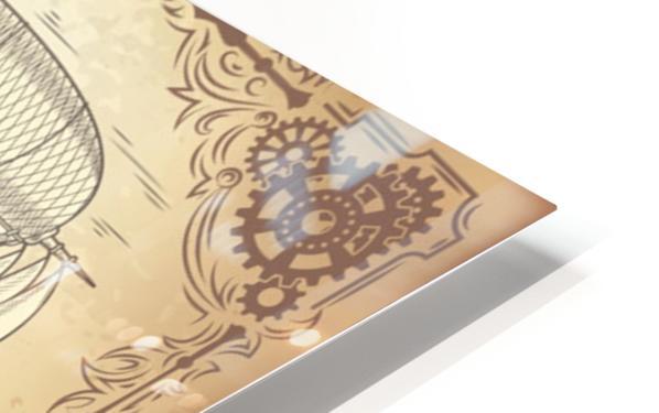 Vector steampunk poster illustration fantastic wooden flying ship HD Sublimation Metal print