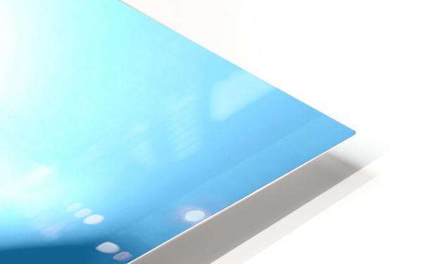Heavenly Peony Aqua Blue HD Sublimation Metal print