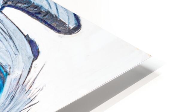 Louisiana Blue Heron Catching Fish- Bright HD Sublimation Metal print