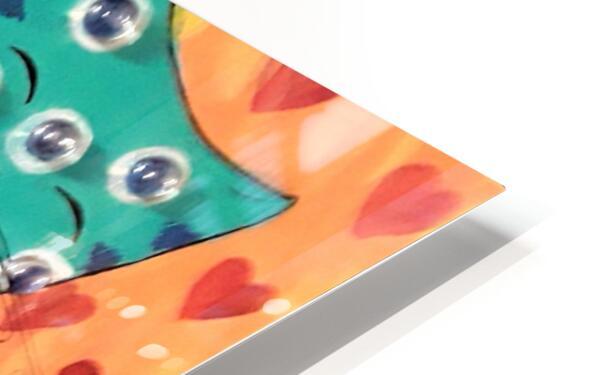Teal Kitty HD Sublimation Metal print