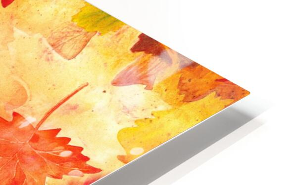 Welcome Fall Red Green Yellow Birch Oak Maple Watercolor Leaves HD Sublimation Metal print
