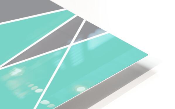 Gray Teal Triangles Geometric Art GAT101-2 HD Sublimation Metal print
