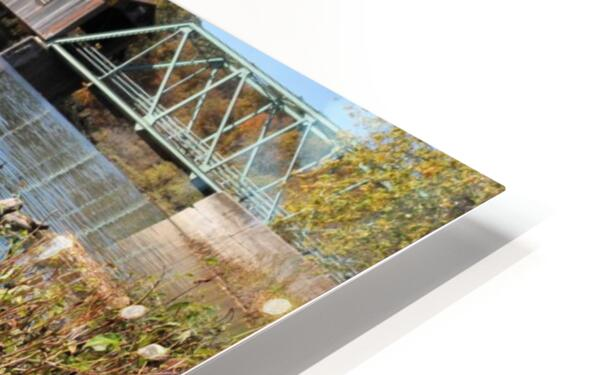 Harpersfield Ohio covered bridge in autumn from east side HD Sublimation Metal print