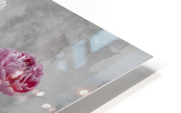 Peonies in glass bottles HD Sublimation Metal print