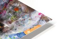 Illustration of a lion's face with colourful splashes HD Metal print