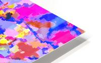 psychedelic geometric square pixel pattern abstract in pink yellow blue HD Metal print