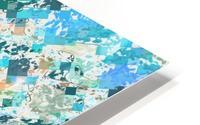 psychedelic geometric square pixel pattern abstract in green blue purple orange HD Metal print