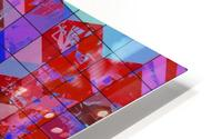 geometric square and triangle pattern abstract in red and blue HD Metal print