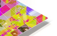geometric square pattern abstract in yellow green pink HD Metal print