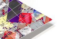 geometric square pixel pattern abstract in purple orange red HD Metal print