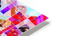 geometric square and triangle pattern abstract in red pink blue HD Metal print
