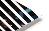Black & White Stripes with Aquamarine Patch HD Metal print