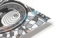 Wandering Abstract Line Art 03: Grayscale HD Metal print