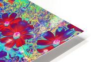 Cosmos Flowers Blue Red HD Metal print