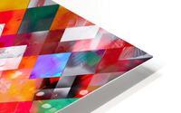 colorful geometric square pixel pattern abstract art in orange red purple HD Metal print