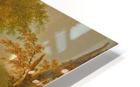 Travellers in a river landscape HD Metal print