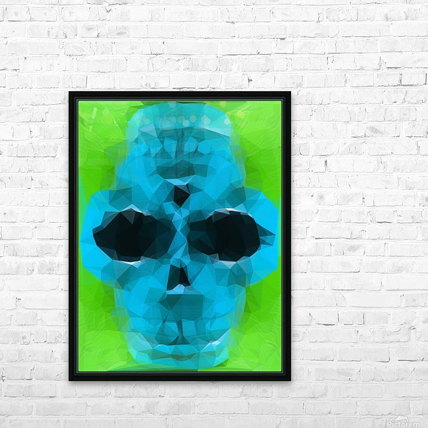 psychedelic skull art geometric triangle abstract pattern in blue and green HD Sublimation Metal print with Decorating Float Frame (BOX)
