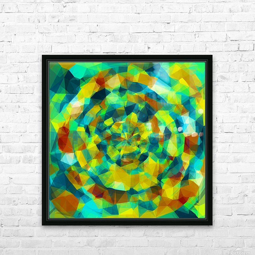 psychedelic geometric polygon pattern abstract in blue yellow green brown HD Sublimation Metal print with Decorating Float Frame (BOX)