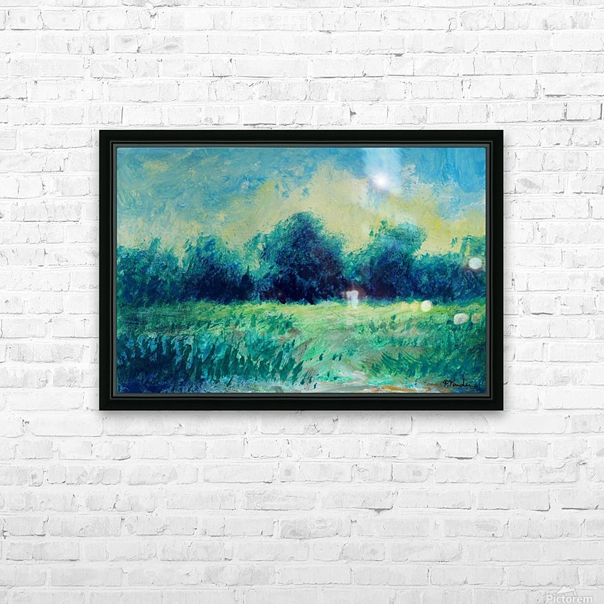 Landscape and Sun HD Sublimation Metal print with Decorating Float Frame (BOX)
