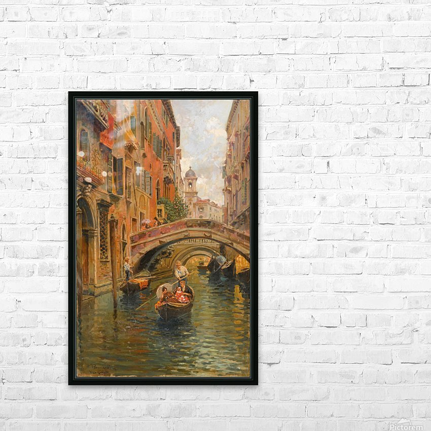 A walk with the gondola along a small canal in Venice HD Sublimation Metal print with Decorating Float Frame (BOX)