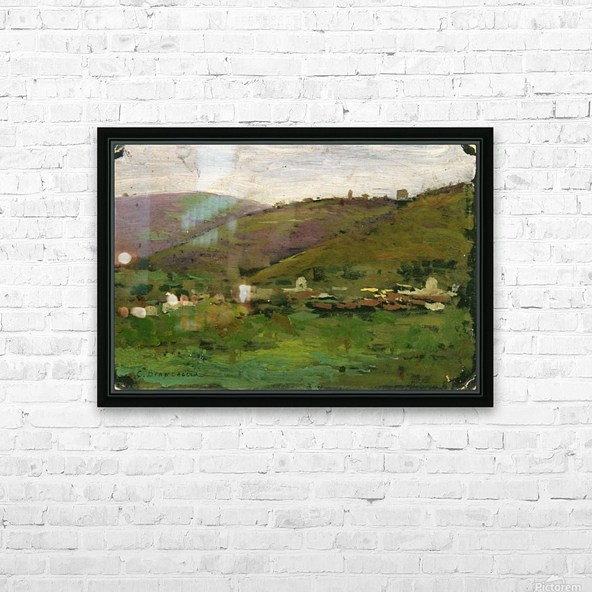 Landscape with houses on an Italian hill HD Sublimation Metal print with Decorating Float Frame (BOX)