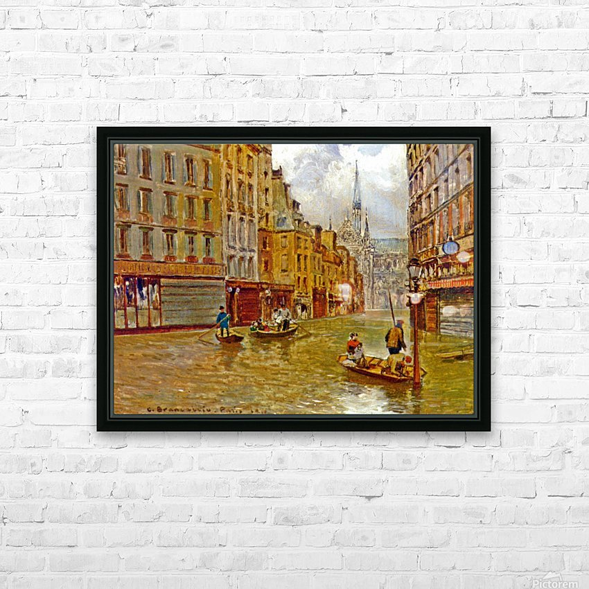 Street in Paris during Flood of 1910 HD Sublimation Metal print with Decorating Float Frame (BOX)