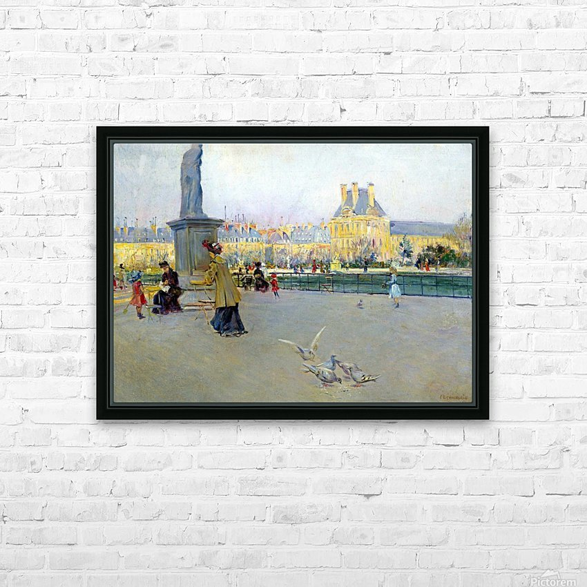 City view with figures and birds in Paris HD Sublimation Metal print with Decorating Float Frame (BOX)