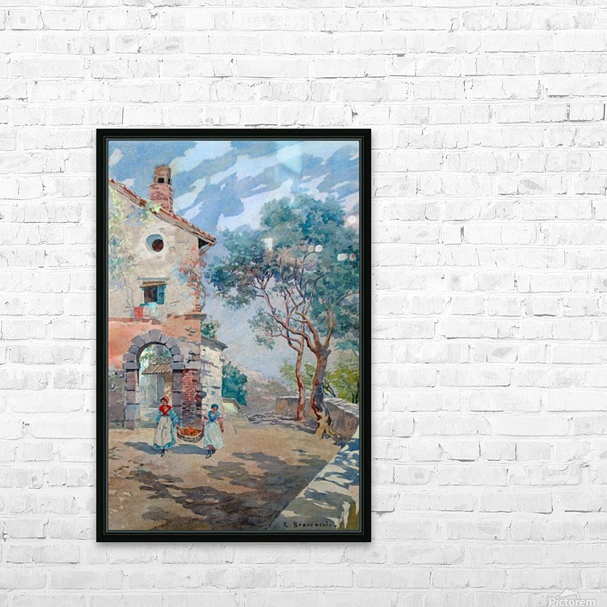 Two girls carrying fruits to their house HD Sublimation Metal print with Decorating Float Frame (BOX)
