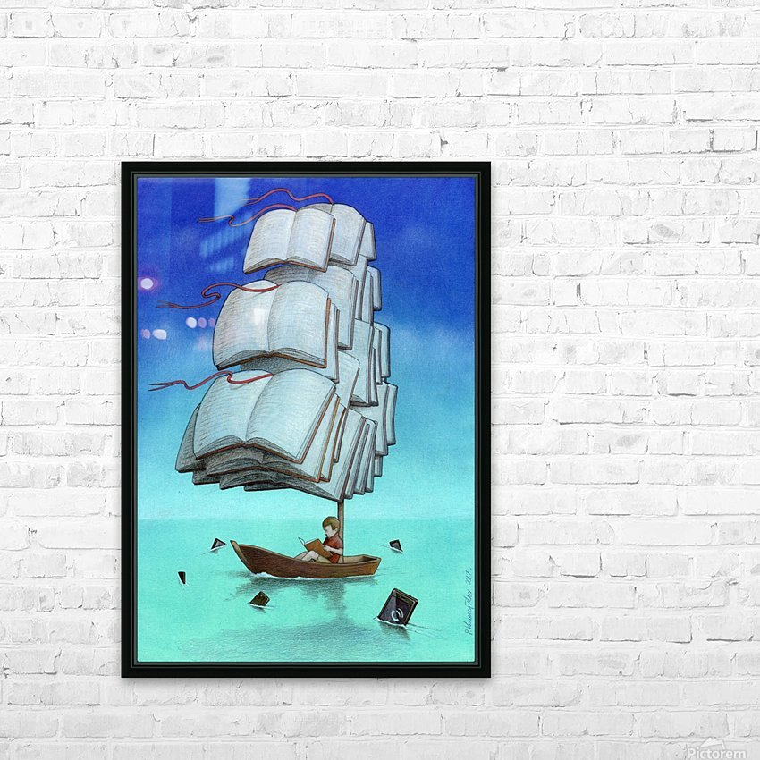 Journey with sharks HD Sublimation Metal print with Decorating Float Frame (BOX)