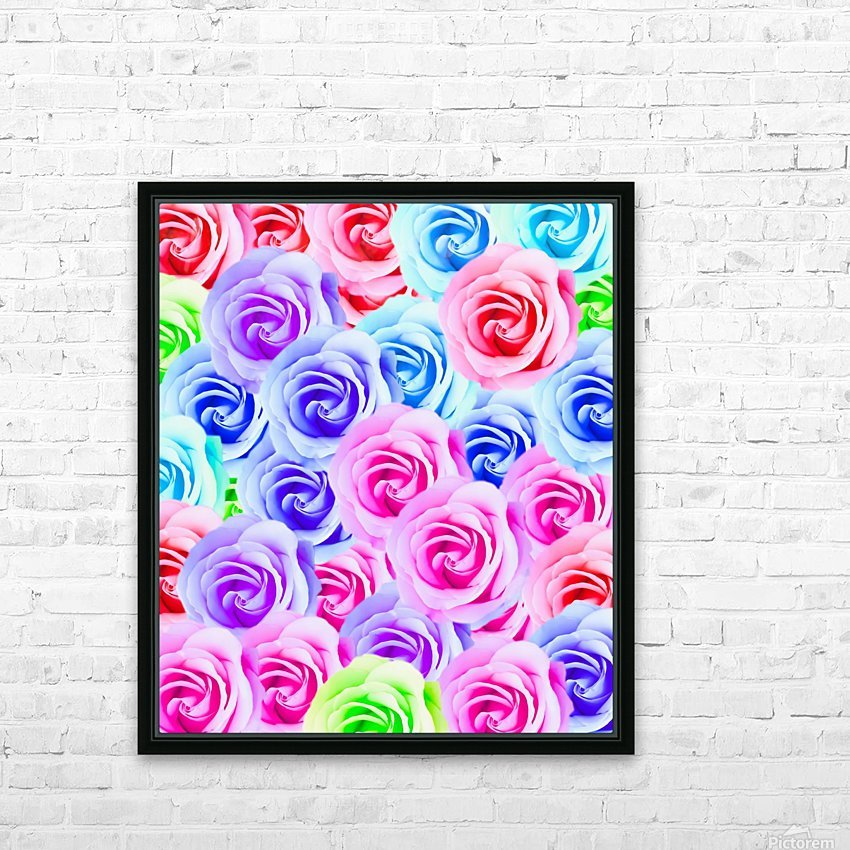 closeup colorful rose texture background in pink purple blue green HD Sublimation Metal print with Decorating Float Frame (BOX)