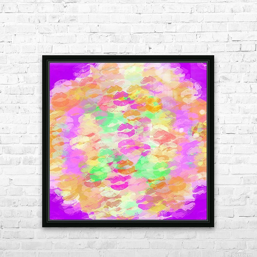 sexy kiss lipstick abstract pattern in pink orange yellow green HD Sublimation Metal print with Decorating Float Frame (BOX)