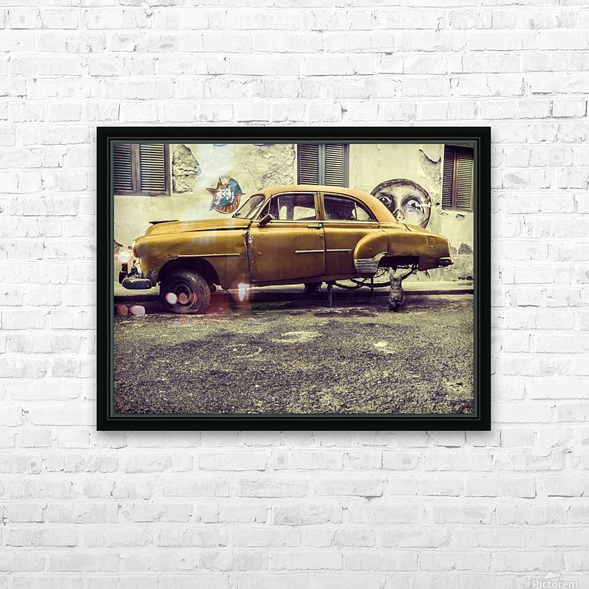 Old car cat HD Sublimation Metal print with Decorating Float Frame (BOX)