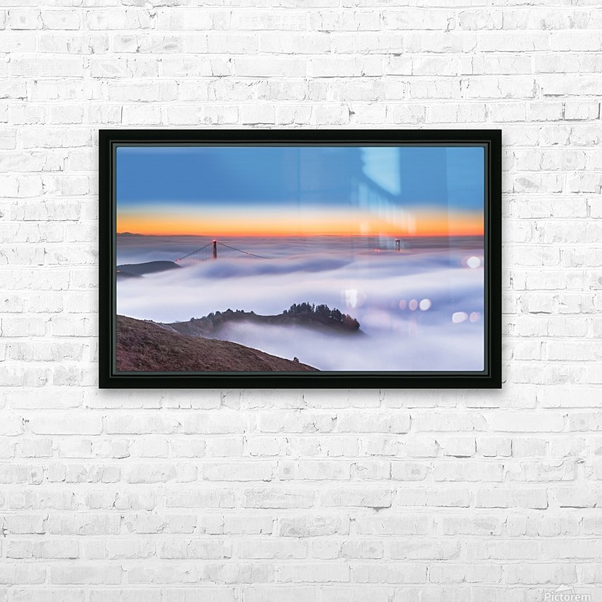 The Golden Gate Bridge in the Fog HD Sublimation Metal print with Decorating Float Frame (BOX)
