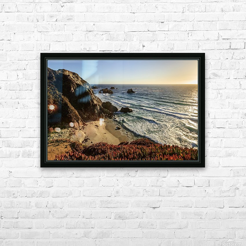 Cliffs along Big Sur coastline near Rocky Creek Bridge on Highway One; California, United States of America HD Sublimation Metal print with Decorating Float Frame (BOX)