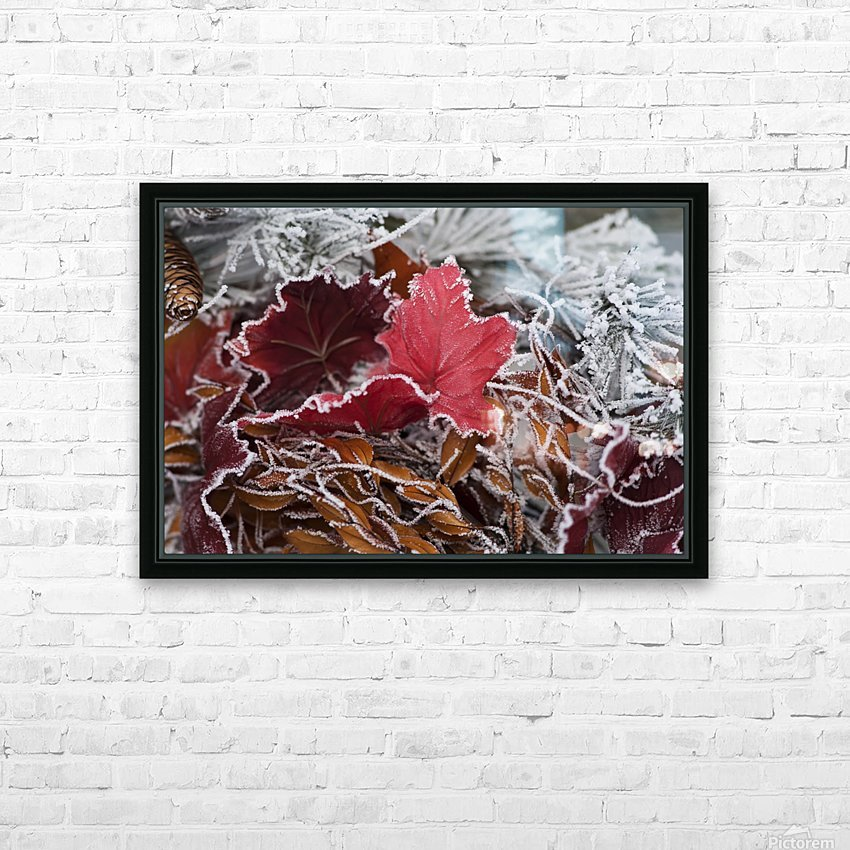 Hoarfrost covers holiday decorations on a wreath, Christmas season; Minnesota, United States of America HD Sublimation Metal print with Decorating Float Frame (BOX)
