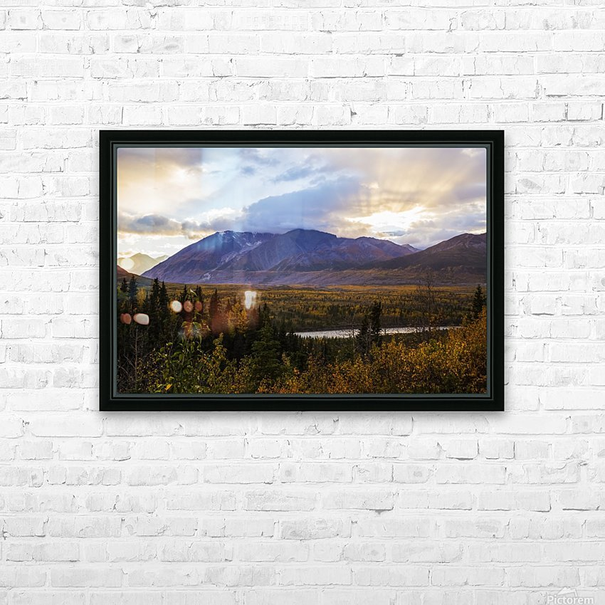 Autumn sunset overlooking the area known as 'Black Rapids' in the Alaska Range along the Richardson Highway; Alaska, United States of America HD Sublimation Metal print with Decorating Float Frame (BOX)