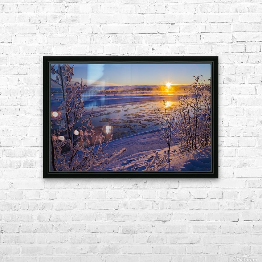 Ice flows in the Tanana River at sunset during freeze up in early winter; Alaska, United States of America HD Sublimation Metal print with Decorating Float Frame (BOX)