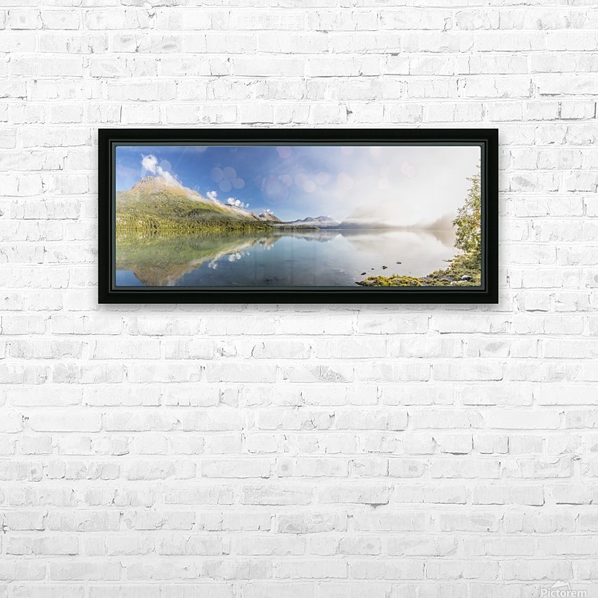 Scenic panorama of Kenai Lake and fog at sunrise, Cooper Landing, Southcentral Alaska, USA HD Sublimation Metal print with Decorating Float Frame (BOX)