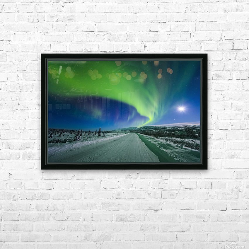 The moon and aurora shine in the night sky over a snow covered Richardson Highway south of Delta Junction; Alaska, United States of America HD Sublimation Metal print with Decorating Float Frame (BOX)