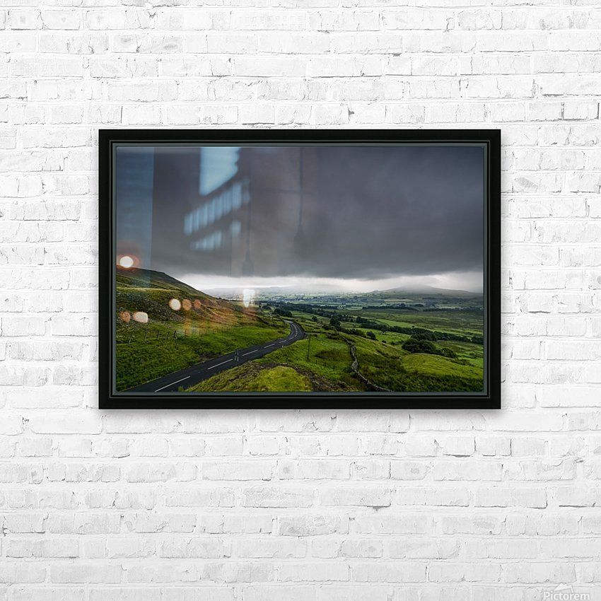 Dark storm clouds over a lush, green landscape and road; North Yorkshire, England HD Sublimation Metal print with Decorating Float Frame (BOX)