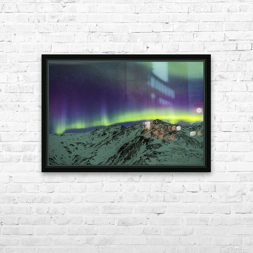 Aurora borealis over mountains within Denali National Park on a very cold winter night.  The Andromeda Galaxy is visible to the left; Alaska, United States of America HD Sublimation Metal print with Decorating Float Frame (BOX)