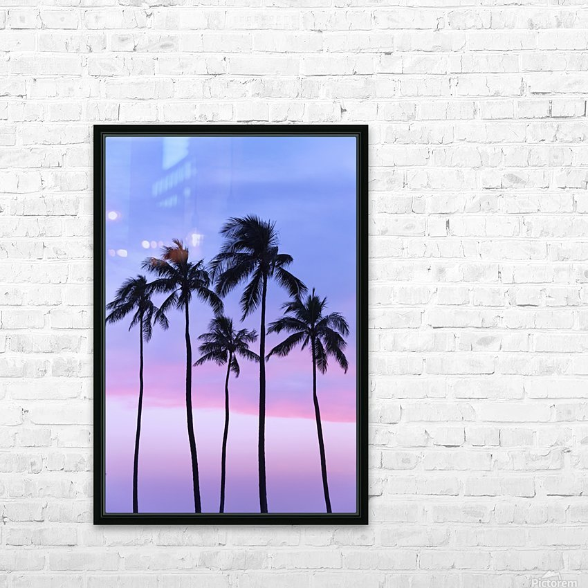Five coconut palm trees in line with cotton candy sunset behind; Honolulu, Oahu, Hawaii, United States of America HD Sublimation Metal print with Decorating Float Frame (BOX)