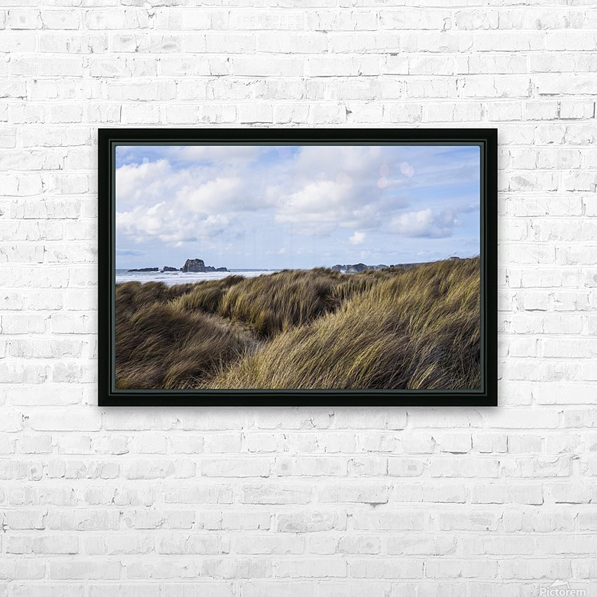 Grass and clouds frame a scene along the coast; Bandon, Oregon, United States of America HD Sublimation Metal print with Decorating Float Frame (BOX)