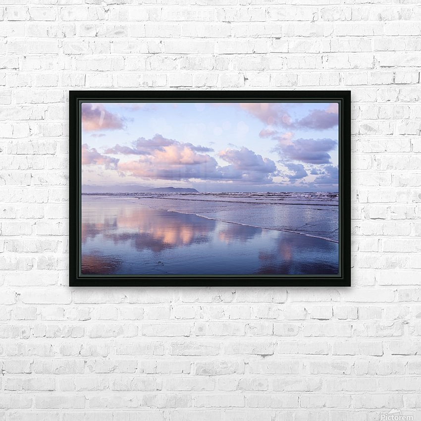 Clouds reflect on an Oregon beach at sunrise; Hammond, Oregon, United States of America HD Sublimation Metal print with Decorating Float Frame (BOX)