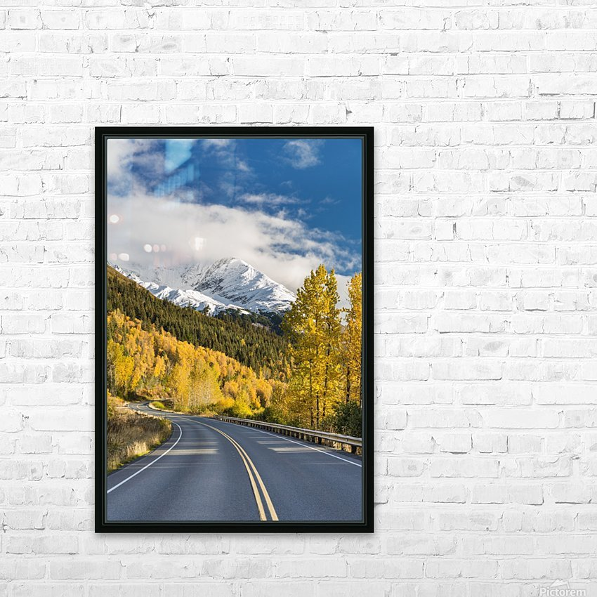 Snow-capped Kenai Mountains dwarf the Seward highway, trees covered in yellow leaves in autumn line the road, South-central Alaska; Seward, Alaska, United States of America HD Sublimation Metal print with Decorating Float Frame (BOX)
