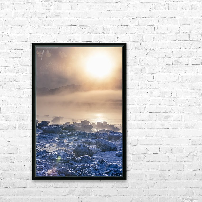 Low altitude fog is cast in warm sunset light along Turnagain Arm and the Seward Highway in winter, sea ice covering the ocean in the foreground, the Chugach Moutains revealed in the background, South-central Alaska; Alaska, United States of America HD Sublimation Metal print with Decorating Float Frame (BOX)