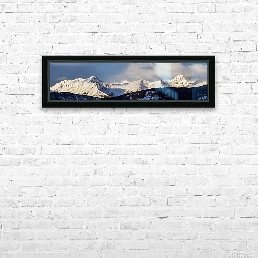 Panorama of snow covered mountains with early morning light, silhouetted forest in the foreground, blue sky and clouds; Kananaskis Country, Alberta, Canada HD Sublimation Metal print with Decorating Float Frame (BOX)