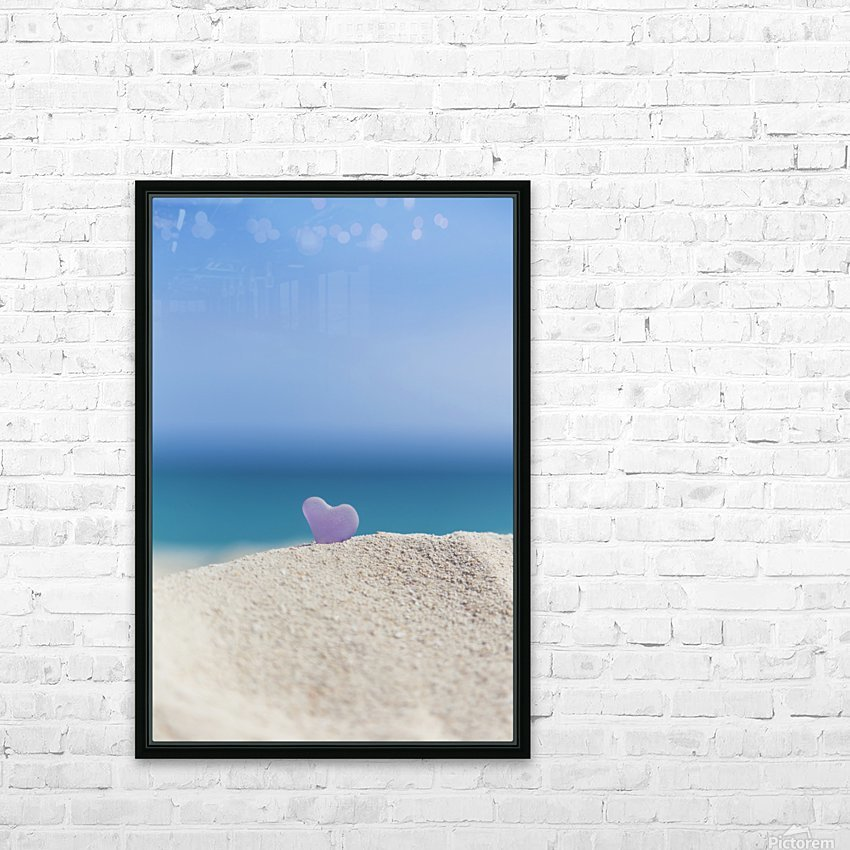 A lavender heart shaped sea glass in the sand at the beach; Honolulu, Oahu, Hawaii, United States of America HD Sublimation Metal print with Decorating Float Frame (BOX)