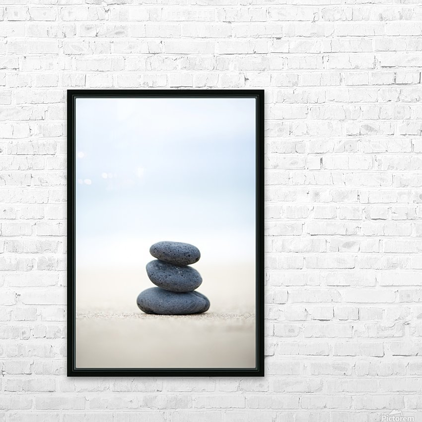 Stack Of Stones On Sand, Selective Focus. HD Sublimation Metal print with Decorating Float Frame (BOX)