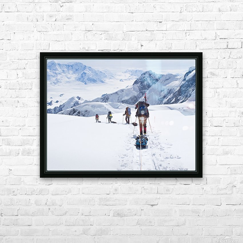Mountaineer Group Descends Into The Maccarthy Gap On The King Trench Route, Mt. Logan, Kluane National Park, Yukon Territory, Canada, Summer HD Sublimation Metal print with Decorating Float Frame (BOX)